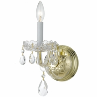 1031-PB-CL-MWP Crystorama Traditional Crystal 1 Light Clear Crystal Brass Sconce