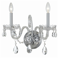 1032-CH-CL-MWP Crystorama Traditional Crystal 2 Light Clear Crystal Chrome Sconce