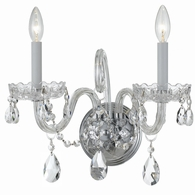 1032-CH-CL-SAQ Crystorama Traditional Crystal 2 Light Spectra Crystal Chrome Sconce