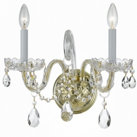 1032-PB-CL-S Crystorama Traditional Crystal 2 Light Swarovski Strass Crystal Brass Sconce