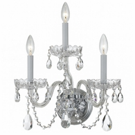 1033-CH-CL-MWP Crystorama Traditional Crystal 3 Light Clear Crystal Chrome Sconce