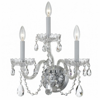 1033-CH-CL-S Crystorama Traditional Crystal 3 Light Swarovski Crystal Chrome Sconce