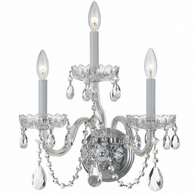 1033-CH-CL-SAQ Crystorama Traditional Crystal 3 Light Spectra Crystal Chrome Sconce