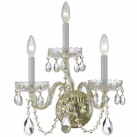 1033-PB-CL-SAQ Crystorama Traditional Crystal 3 Light Spectra Crystal Brass Sconce
