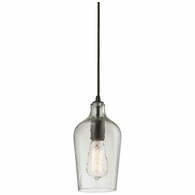 10331/1CLR ELK Lighting Hammered Glass 1-Light Mini Pendant in Oiled Bronze with Hammered Clear Glass