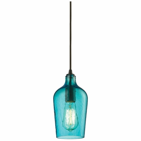 10331/1HAQ ELK Lighting Hammered Glass 1-Light Mini Pendant in Oiled Bronze with Hammered Aqua Glass