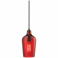 10331/1HRD ELK Lighting Hammered Glass 1-Light Mini Pendant in Oiled Bronze with Hammered Red Glass