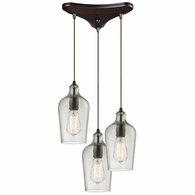 10331/3CLR ELK Lighting Hammered Glass 3-Light Triangular Pendant Fixture in Oiled Bronze with Hammered Clear Glass