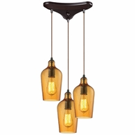 10331/3HAMB ELK Lighting Hammered Glass 3-Light Triangular Pendant Fixture in Oiled Bronze with Hammered Amber Glass