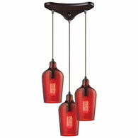 10331/3HRD ELK Lighting Hammered Glass 3-Light Triangular Pendant Fixture in Oiled Bronze with Hammered Red Glass