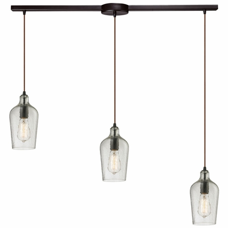10331/3L-CLR ELK Lighting Hammered Glass 3-Light Linear Pendant Fixture in Oiled Bronze with Hammered Clear Glass