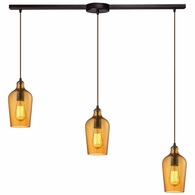 10331/3L-HAMB ELK Lighting Hammered Glass 3-Light Linear Pendant Fixture in Oiled Bronze with Hammered Amber Glass