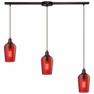 10331/3L-HRD ELK Lighting Hammered Glass 3-Light Linear Pendant Fixture in Oiled Bronze with Hammered Red Glass