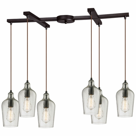 10331/6CLR ELK Lighting Hammered Glass 6-Light H-Bar Pendant Fixture in Oiled Bronze with Hammered Clear Glass