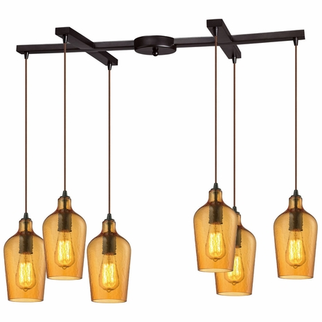 10331/6HAMB ELK Lighting Hammered Glass 6-Light H-Bar Pendant Fixture in Oiled Bronze with Hammered Amber Glass