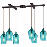 10331/6HAQ ELK Lighting Hammered Glass 6-Light H-Bar Pendant Fixture in Oiled Bronze with Hammered Aqua Glass