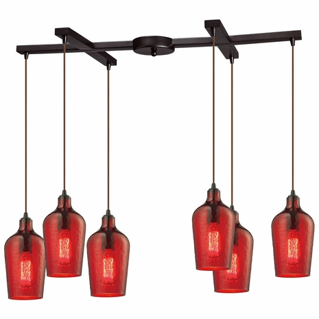 10331/6HRD ELK Lighting Hammered Glass 6-Light H-Bar Pendant Fixture in Oiled Bronze with Hammered Red Glass