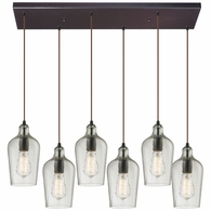 10331/6RC-CLR ELK Lighting Hammered Glass 6-Light Rectangular Pendant Fixture in Oiled Bronze with Hammered Clear Glass