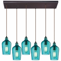 10331/6RC-HAQ ELK Lighting Hammered Glass 6-Light Rectangular Pendant Fixture in Oiled Bronze with Hammered Aqua Glass