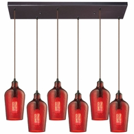 10331/6RC-HRD ELK Lighting Hammered Glass 6-Light Rectangular Pendant Fixture in Oiled Bronze with Hammered Red Glass