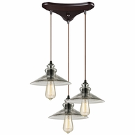 10332/3 ELK Lighting Hammered Glass 3-Light Triangular Pendant Fixture in Oiled Bronze with Hammered Clear Glass