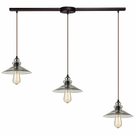 10332/3L ELK Lighting Hammered Glass 3-Light Linear Pendant Fixture in Oiled Bronze with Hammered Clear Glass