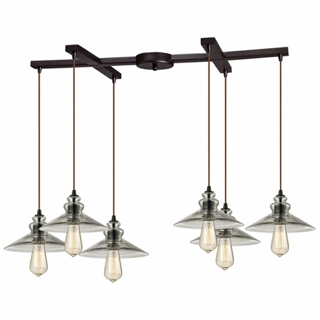 10332/6 ELK Lighting Hammered Glass 6-Light H-Bar Pendant Fixture in Oiled Bronze with Hammered Clear Glass