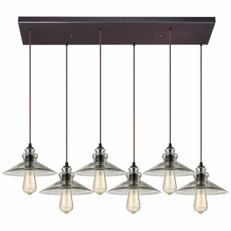 10332/6RC ELK Lighting Hammered Glass 6-Light Rectangular Pendant Fixture in Oiled Bronze with Hammered Clear Glass