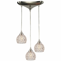 10341/3 ELK Lighting Kersey 3-Light Triangular Pendant Fixture in Satin Nickel with Clear Crystal