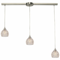 10341/3L ELK Lighting Kersey 3-Light Linear Pendant Fixture in Satin Nickel with Clear Crystal