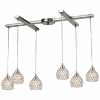 10341/6 ELK Lighting Kersey 6-Light H-Bar Pendant Fixture in Satin Nickel with Clear Crystal