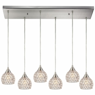 10341/6RC ELK Lighting Kersey 6-Light Rectangular Pendant Fixture in Satin Nickel with Clear Crystal