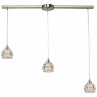 10342/3L ELK Lighting Kersey 3-Light Linear Pendant Fixture in Satin Nickel with Clear Crystal