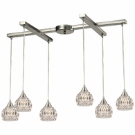 10342/6 ELK Lighting Kersey 6-Light H-Bar Pendant Fixture in Satin Nickel with Clear Crystal