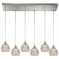 10342/6RC ELK Lighting Kersey 6-Light Rectangular Pendant Fixture in Satin Nickel with Clear Crystal