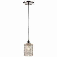 10343/1 ELK Lighting Kersey 1-Light Mini Pendant in Satin Nickel with Clear Crystal