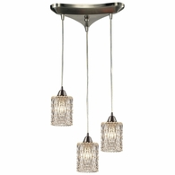 10343/3 ELK Lighting Kersey 3-Light Triangular Pendant Fixture in Satin Nickel with Clear Crystal