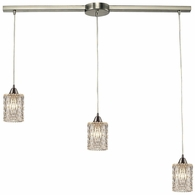 10343/3L ELK Lighting Kersey 3-Light Linear Pendant Fixture in Satin Nickel with Clear Crystal