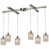 10343/6 ELK Lighting Kersey 6-Light H-Bar Pendant Fixture in Satin Nickel with Clear Crystal
