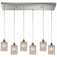 10343/6RC ELK Lighting Kersey 6-Light Rectangular Pendant Fixture in Satin Nickel with Clear Crystal
