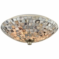 10401/2 ELK Lighting Capri 2-Light Flush Mount in Satin Nickel with Gray Capiz Shells on Glass