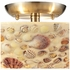 10411/3 ELK Lighting Shells 3-Light Semi Flush in Satin Nickel with Sea Shell Motif