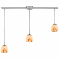 10421/3L-TS ELK Lighting Melony 3-Light Linear Pendant Fixture in Satin Nickel with Frosted Glass