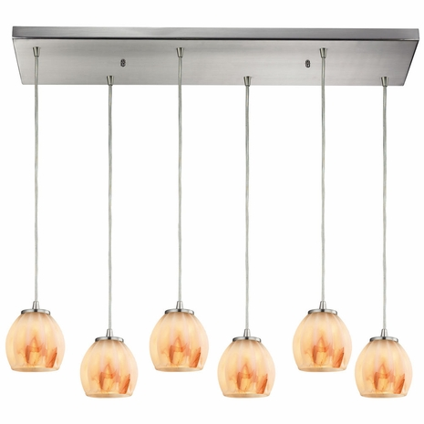 10421/6RC-TS ELK Lighting Melony 6-Light Rectangular Pendant Fixture in Satin Nickel with Frosted Glass