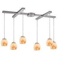 10421/6TS ELK Lighting Melony 6-Light H-Bar Pendant Fixture in Satin Nickel with Frosted Glass