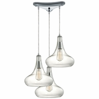 10422/3 ELK Lighting Orbital 3-Light Triangular Pendant Fixture in Polished Chrome with Clear Glass