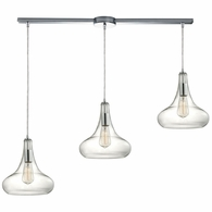 10422/3L ELK Lighting Orbital 3-Light Linear Pendant Fixture in Polished Chrome with Clear Glass