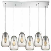 10423/6RC ELK Lighting Orbital 6-Light Rectangular Pendant Fixture in Polished Chrome with Clear Glass