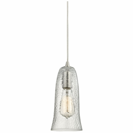 10431/1CLR ELK Lighting Hammered Glass 1-Light Mini Pendant in Satin Nickel with Hammered Clear Glass