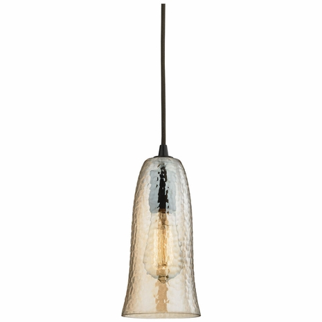 10431/1HAMP ELK Lighting Hammered Glass 1-Light Mini Pendant in Oiled Bronze with Amber-plated Hammered Glass